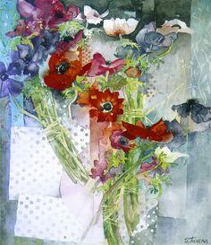 shirley trevena artist   Shirley Trevena. Four Bunches Of Anemones