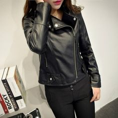 Women Fashion Long Sleeve Zipper Leather Jackets Removable Hooded Coat Ladies Plus Size Cool Motorcycle Coat Outwear Coats For Women, Jackets For Women, Clothes For Women, Fashion Leaders, Fashion Brand, Womens Fashion, Leather Fashion, Pu Leather, International Fashion