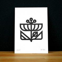 Eight Hour Day Flower Letterpress Print $15 via @domestica #flower #letterpress #print #design #modern #minimal #icon #symbol #graphic