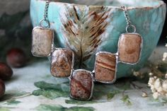 Necklace Desert Hmiro Jasper tin  silver hardware от ArtLadyShop,