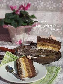 diana's cakes love: Tort Extasy cu patru feluri de bezea Romanian Desserts, Sweets Recipes, Something Sweet, French Toast, Sweet Treats, Recipies, Deserts, Pudding, Cheesecake