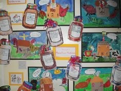 George's Marvellous Medicine display - year 1 Magic Potions and Granny collages Roald Dahl Activities, Book Activities, Roald Dalh, Georges Marvellous Medicine, James And Giant Peach, Roald Dahl Books, Multiplication Activities, School Themes, School Ideas