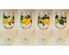 Hand Painted Lemon Wine Glasses 18.5 oz  Set by LemonTreeWorkshop