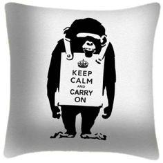 Coussin imprimé Keep Calm Chimp