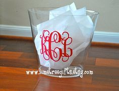 Monogram Acrylic Trash Can by limetreegifts on Etsy, $27.00