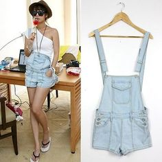 Summer Women Casual Washed Jeans Denim Hole Jumpsuit Romper Overall Shorts Pants Hotpants Jeans, Denim Shorts, Jeans Jumpsuit, Suspenders Outfit, Short One Piece, Korean Fashion Trends, Fashion 101, Short En Jean, Couture