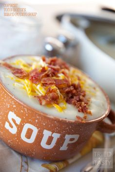 Copycat Tony Romas Baked Potato Soup // If ever there is a baked potato soup recipe that you want, it's this one! One of my favorite soups from Tony Roma's restaurant is now in your hands. You can thank me later!! | Tried and Tasty