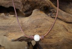 Leather and Pearl Necklace  Freshwater Pearl and by Ginaspearls