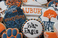 Auburn Football Cookies, College Football , Auburn University, orange and blue, custom cookies, auburn graduation, cheerleader, football by 4theloveofcookies on Etsy https://www.etsy.com/listing/170144806/auburn-football-cookies-college-football