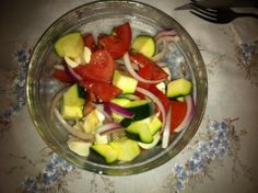 Bocconcini and Zucchini! With tomato and red onion. Lovely, light and fresh!