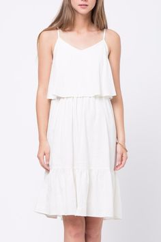 Let's make plans to hang. This cute white double layered dress is perfect for any casual occasion! Double Layered Dress by Movint. Clothing - Dresses - A-line Los Angeles, California Crop Image, First Day Of Summer, Dress Outfits, Layers, White Dress, Summer Dresses, Casual, How To Make, Clothes