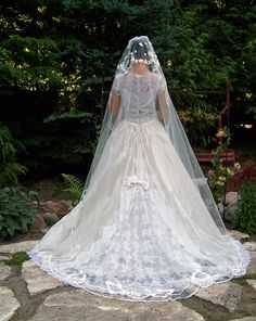 STUNNING BRIDAL SET-Vintage 1950s Diamond White Silk Voile Venice lace Layered Wedding Dress with French Lace Silk Veil. $750.00, via Etsy.