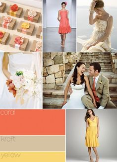 Coral wedding colors. This would be nice with grey too instead of khaki.   Inspirations  |  Brides & Groom