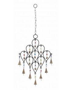 Metallic Bell Wind Chime with Unique Pattern Design -  is sure to adorn your home with grandeur. It is especially designed in a unique pattern of nine inverted pear shapes, which are attached together The colorful beads that attach the bell to the metal frame enhance the beauty of the wind chime. It can be hanged inside your home in the entrance way of your hall, living room, or in the outdoor living space like your patio or porch.
