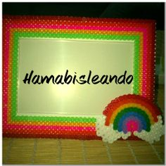 Rainbow photo frame hama beads by Graciela GG