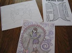 viking mask, ship and how to train your dragon coloring pages links for Leif Erickson Day