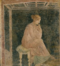 Woman seated beneath a coffered ceiling, 1st century BC-1st century AD, Stabiae, Villa Arianna, fresco, 53 x 49 cm, Soprintendenza Speciale per i Beni Archeologici di Napoli e Pompei, Museo Archeologico Nazionale di Napoli, Photography © Luciano Pedicini.