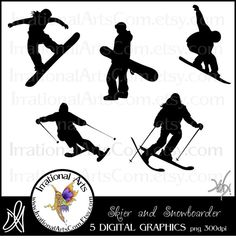 Skiing & Snowboarding Silhouettes Digital by IrrationalArts, $3.00