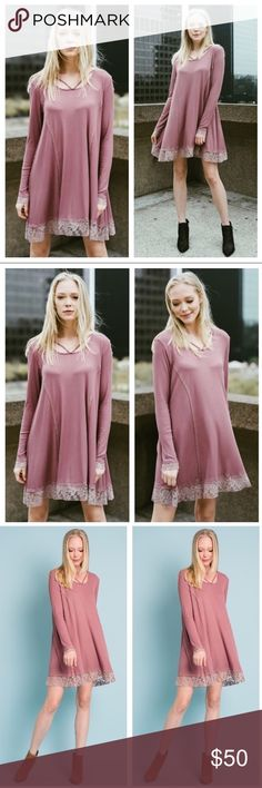 🛍JUST IN🛍Long Sleeve Lace-Trimmed Dark PinkDress Very comfortable and fun! Perfect for any occasion. The hem and sleeves are embellished with lace trim. Hem falls to the knee. 97% rayon 3% spandex Buy single piece or Add to a bundle for savings at purchase. No trading. Price is firm. Boutique Dresses