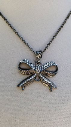 Antique silver crystal bow necklace/ Gunmetal bow by ILoveBeads247