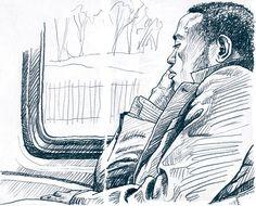 Lynne Chapman - Train passenger.  3B pencil.