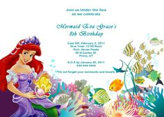 Ariel Disney Little Mermaid Free Birthday Invitation