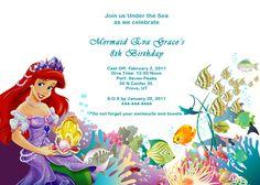 Ariel Disney Little Mermaid Free Birthday Invitation (free download, personalize and print)... beautiful!    @Jess Liu kesner
