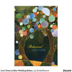 Love Trees in Blue Wedding Rehearsal Dinner Invite