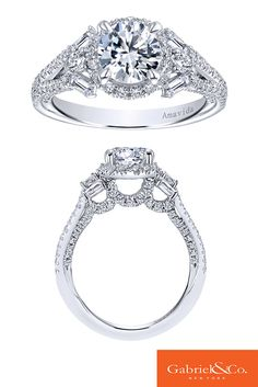 Beautiful 18k White Gold Diamond Halo Engagement Ring by Gabriel & Co. All the gorgeous and flawless details and diamonds in this piece are absolutely perfect. This one of a kind can be found on our website or at your local Gabriel retailer!