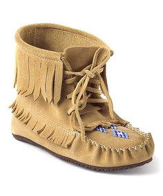 Take a look at this Tan Harvester Suede Moccasin Boot by Manitobah Mukluks on #zulily today!