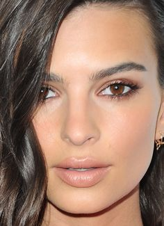 Close-up of Emily Ratajkowski's skin.