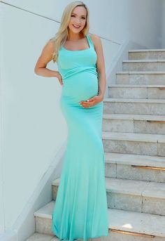 Flare Maternity Dress in 35 Colors - Sexy Mama Maternity Floral Maternity Dresses, Maternity Dresses For Photoshoot, Maternity Gowns, Beach Maternity Photos, Pregnancy Photos, Maternity Photography, Family Photography, Mint Gown, Pregnant Model