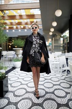 Dress: Self-Portrait (also love this skirt and this dress). Coat: Old (similar here and here). Bag: Chanel. Shoes: Gianvito Rossi (sold out similar here and here).