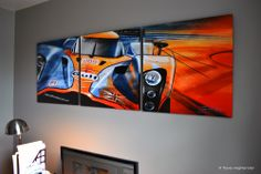 Aston Martin Le Mans LMP1 digital painting.  Presented as a triptych on an office wall.