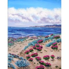 Pink Daisies in Sand Dunes Half Moon Bay California Seascape  Painting http://www.amazon.com/gp/product/B00819T1WU/ref=as_li_ss_il?ie=UTF8=1789=390957=B00819T1WU=as2=thebooksatiwh-20