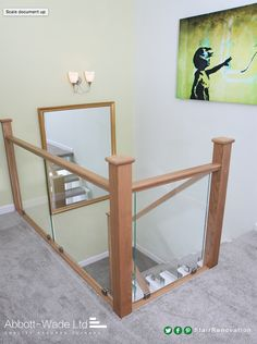 Oak staircase renovation incorporating clamped glass balustrade