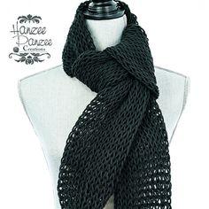 Knitted Net Scarf  Black Lightweight Soft by HanzeePanzeeCreation