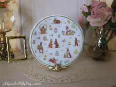 Cottontails Easter Dollhouse Plate by alavenderdilly on Etsy, $4.00