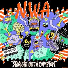 Illustrators including Sam Taylor and Charlotte Mei's tributes to NWA's Straight Outta Compton.