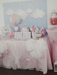 Pastel hot air balloon baptism party! See more party planning ideas at CatchMyParty.com!
