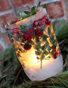 Holiday Ice Lanterns with branches & cranberries
