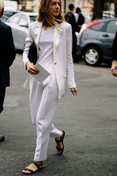 All white feminine tuxedo suit