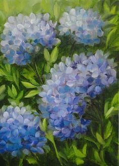 Janet Paden's Paintings: Hydrangeas 5x7 oil on canvas panel - SOLD