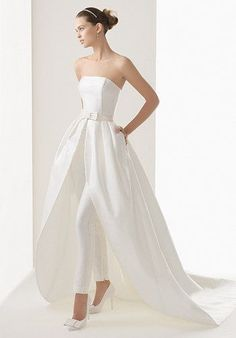 2015 Newest Style High Low Wedding Dresses With Trousers Inside Strapless Backless Wedding Gowns Sexy Bride Pants Bridal Dress Wedding Robe, Wedding Pantsuit, Two Piece Wedding Dress, Wedding Suits, Wedding Attire, Wedding Gowns, Bow Wedding, Backless Wedding, Elegant Wedding