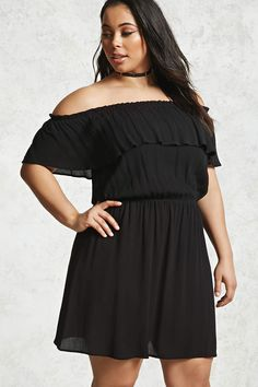 Forever 21+ - A crinkled woven gauze dress with off-the-shoulder short sleeves, a flounce-layered bodice, and an elasticized neckline and waist.