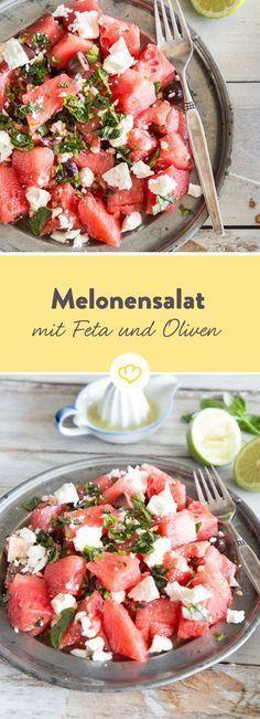 Summery melon salad with feta and olives - Essen und Trinken - Salat Healthy Salads, Healthy Life, Healthy Eating, Healthy Recipes, Healthy Food, Grilling Recipes, Beef Recipes, Salad Recipes, Feta Salat