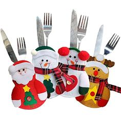 Yunanwa 4 Pack Kitchen Cutlery Suit Silverware Holders Pockets Knifes Forks Bag Reindeer, Santa Claus, Snowman Heart Christmas Tree Party Decor Decoration * See this great product. (This is an affiliate link) #KitchenDining