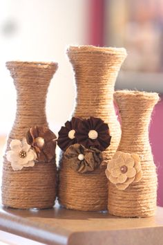 Rustic Vase Set of 3 by AestheticJourneys on Etsy, $45.00