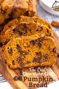 This tender Chocolate Chip Pumpkin Bread is moist, packed with warm pumpkin spices and loaded with chocolate chips. This easy pumpkin bread recipe makes two loaves of the absolute best pumpkin bread! #lemonblossoms #bread #fall #autumn #baking #pumpkin Waffle Recipes, Brunch Recipes, Baking Recipes, Breakfast Recipes, Breakfast Ideas, Cookie Recipes, Pumpkin Chocolate Chip Bread, Pumpkin Bread, Pumpkin Recipes