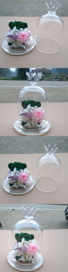 Handmade Crown Crystal Glass Vase Cover European Crystal TableTop Vase Preserved Fresh Flover Vase Wedding Table Landscape Vase